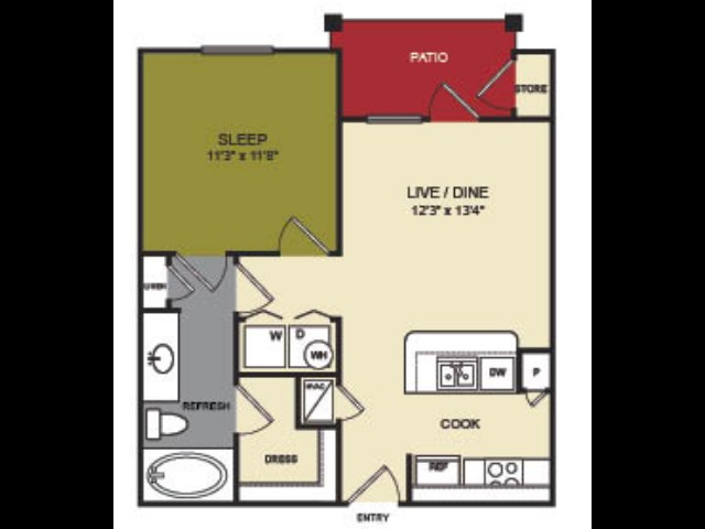 622 sq. ft. Sabine floor plan