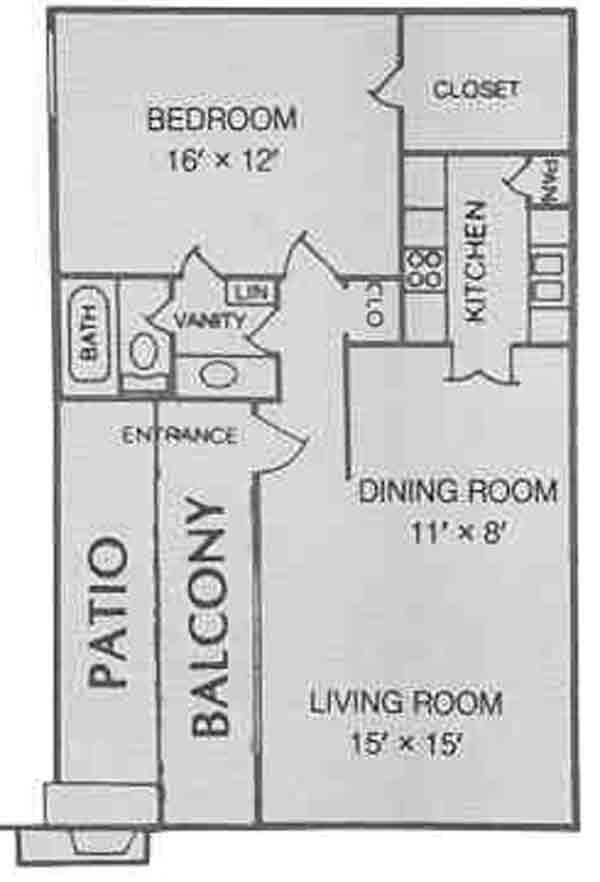 795 sq. ft. A floor plan