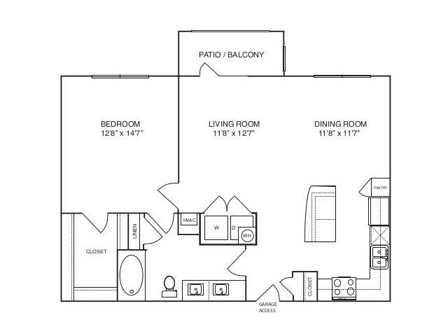 882 sq. ft. A3 alt 3 floor plan