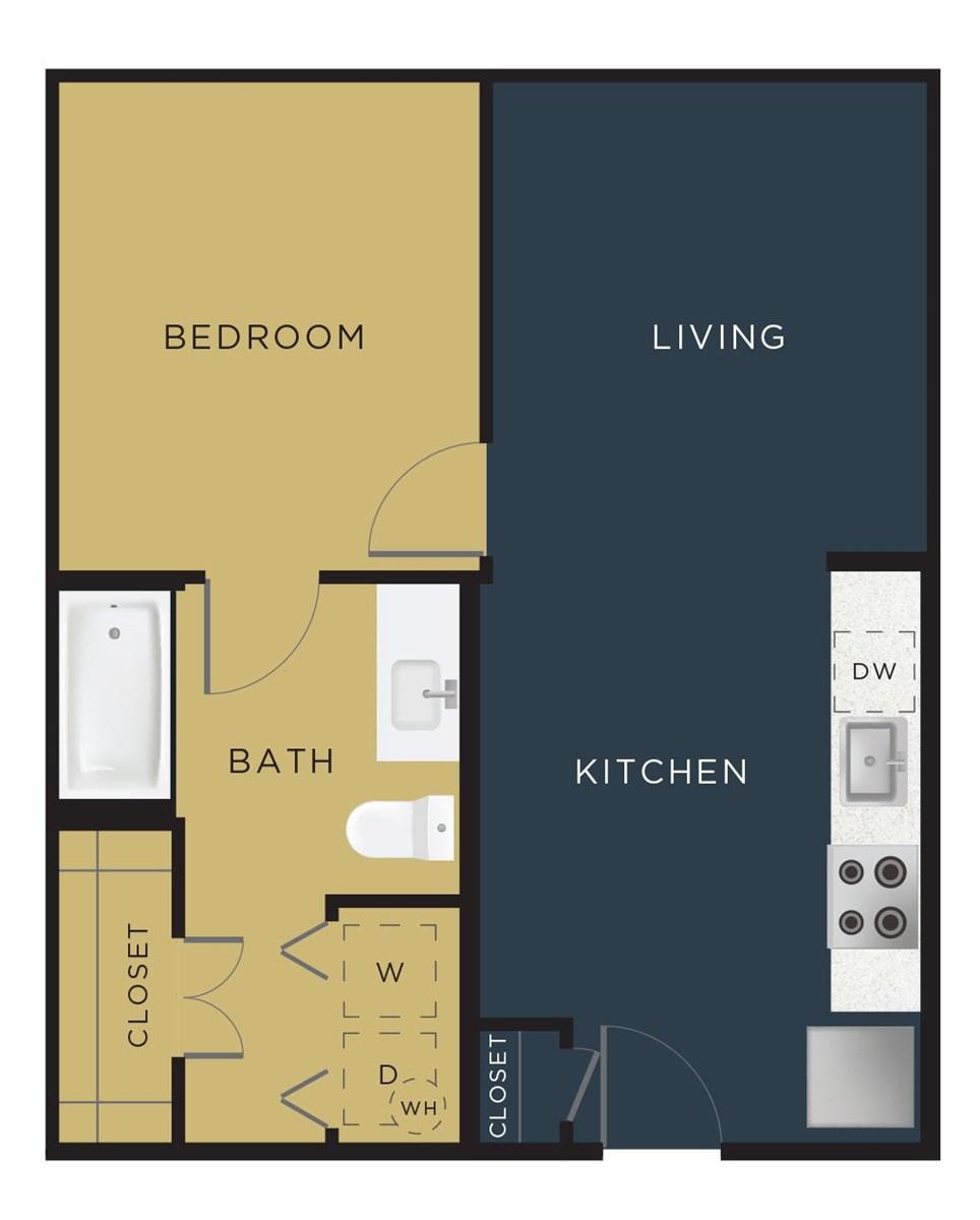 596 sq. ft. E2-A floor plan