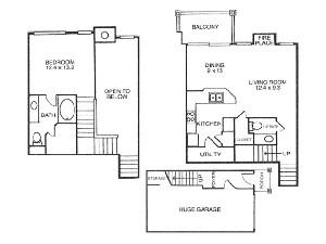 807 sq. ft. A3 floor plan