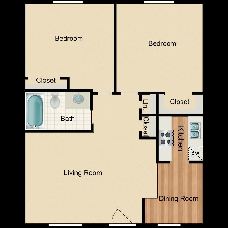 870 sq. ft. B1 floor plan