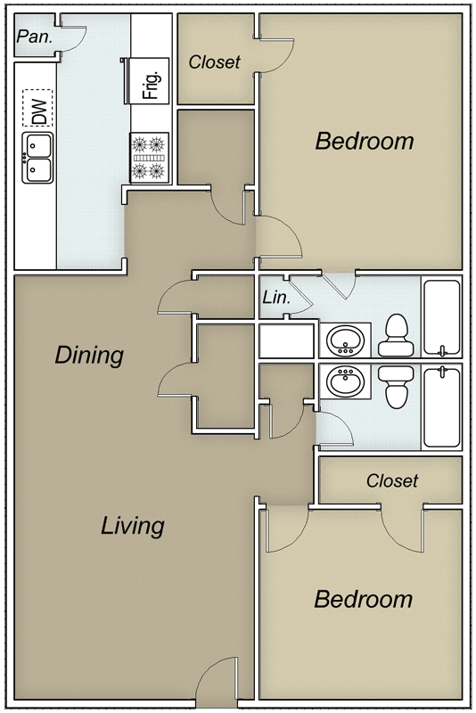 1,050 sq. ft. Georgetown floor plan