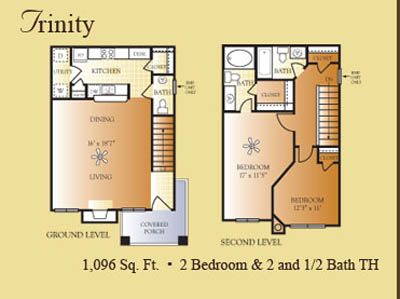 1,096 sq. ft. Trinity floor plan