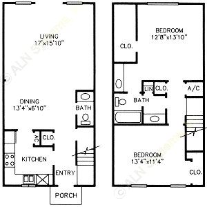 1,153 sq. ft. C/D floor plan