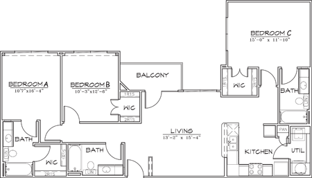 1,314 sq. ft. floor plan