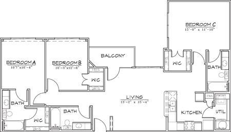 1,314 sq. ft. floor plan