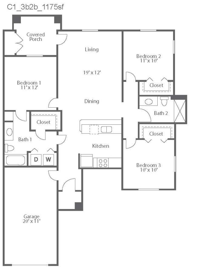 1,175 sq. ft. Cremona/C1 floor plan