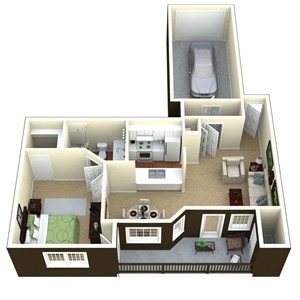 689 sq. ft. A2B floor plan