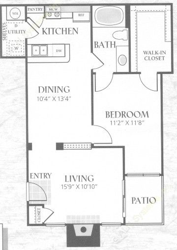 791 sq. ft. A3L floor plan