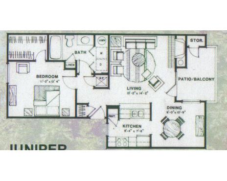 721 sq. ft. Juniper floor plan