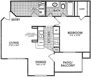 804 sq. ft. Trinity floor plan