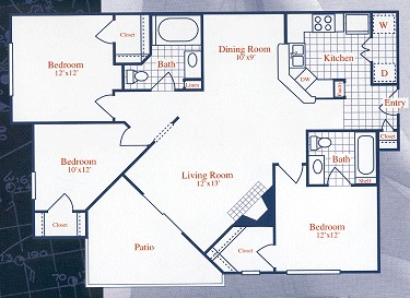 1,105 sq. ft. WINDJAMMER floor plan