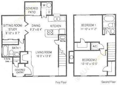 1,200 sq. ft. WT floor plan