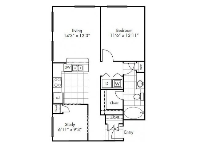 799 sq. ft. Austin floor plan