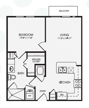 636 sq. ft. Boulevard/A1 floor plan