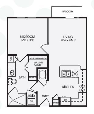636 sq. ft. Boulevard/A1 floor plan