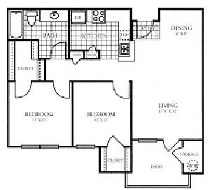 834 sq. ft. PATIO/50% floor plan