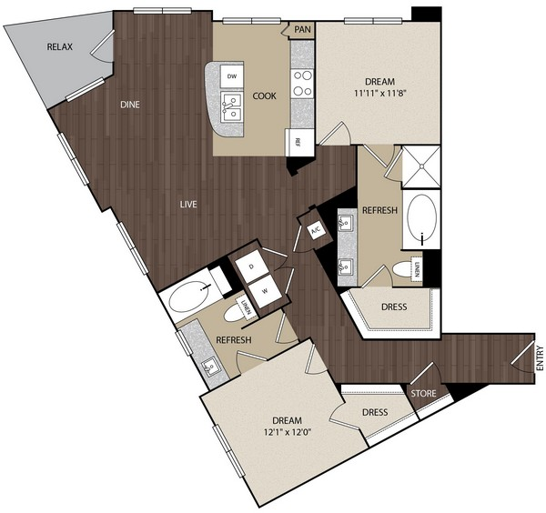1,251 sq. ft. B2 floor plan