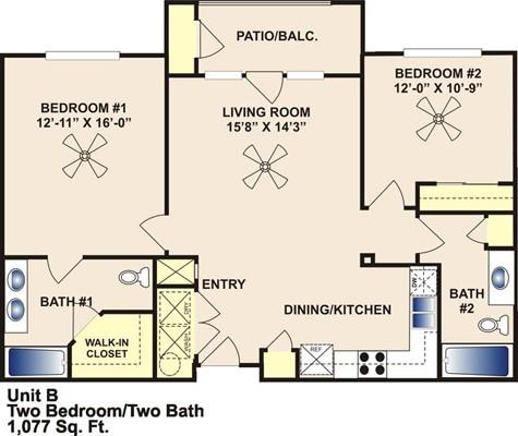 1,077 sq. ft. B/60% floor plan