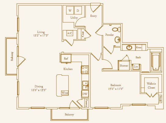 1,215 sq. ft. Stanmore floor plan