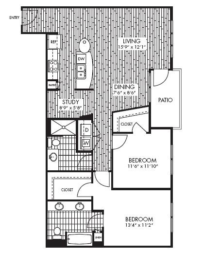 1,192 sq. ft. B4 floor plan