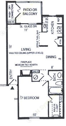 700 sq. ft. Timberline floor plan