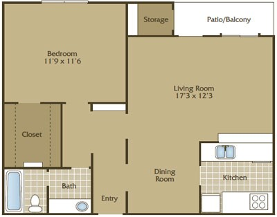 779 sq. ft. C floor plan