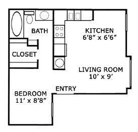465 sq. ft. A1/50% floor plan