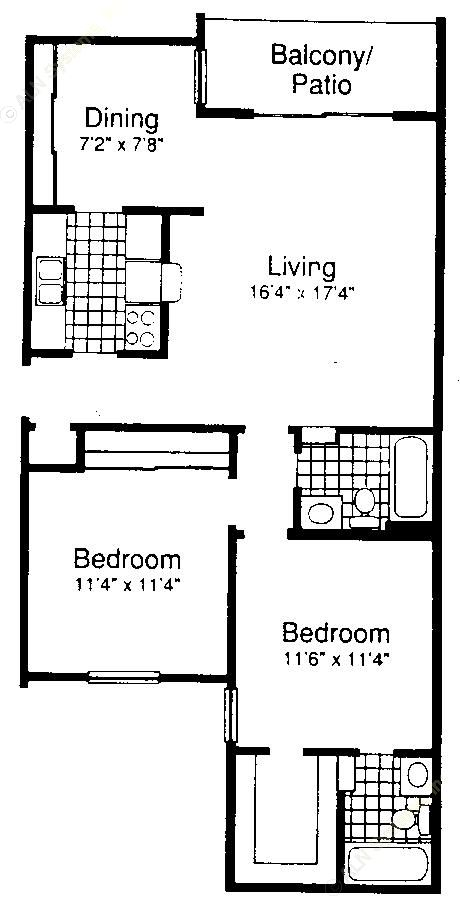 947 sq. ft. B2-2 floor plan