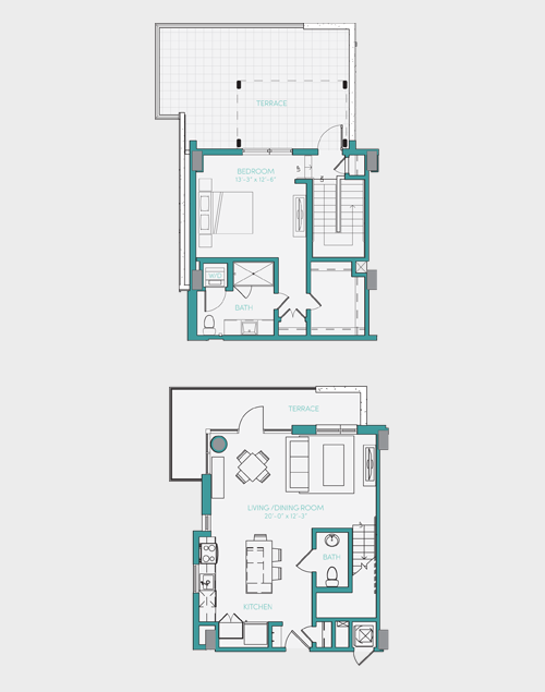 1,023 sq. ft. A7.1 floor plan