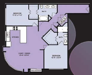 1,275 sq. ft. B6 floor plan