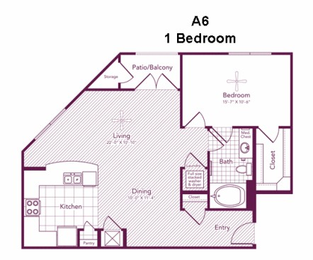 842 sq. ft. HAWTHORNE floor plan