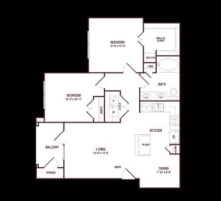928 sq. ft. Post Oak floor plan