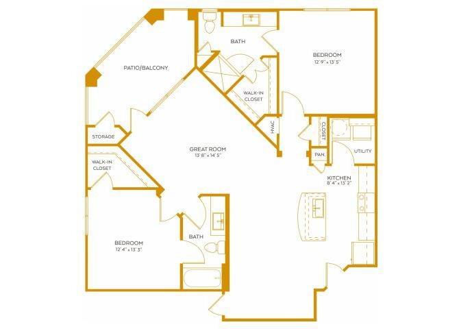 1,200 sq. ft. B4G floor plan