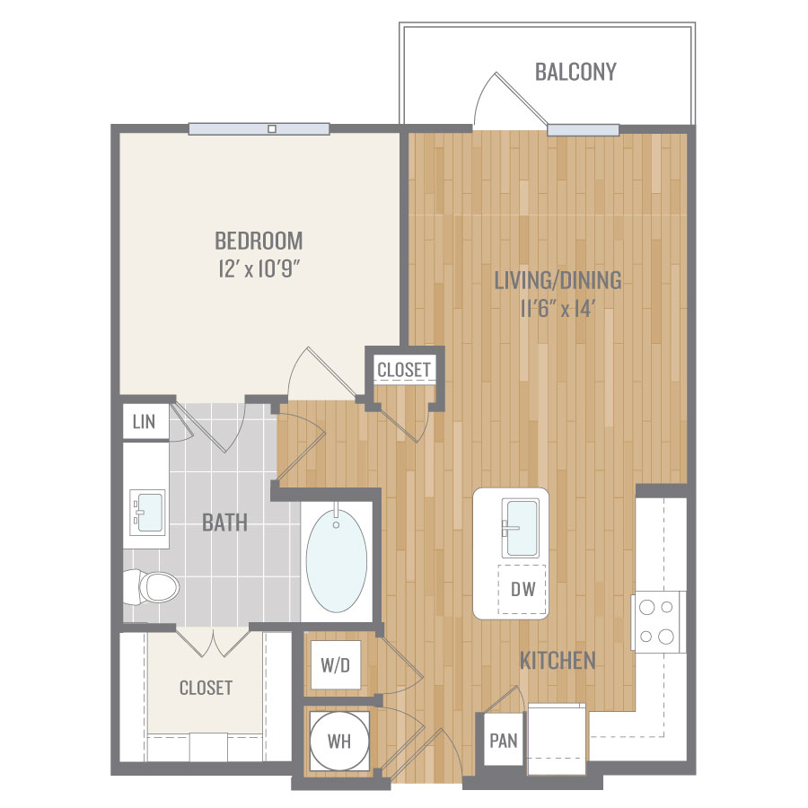 674 sq. ft. A2-5 floor plan