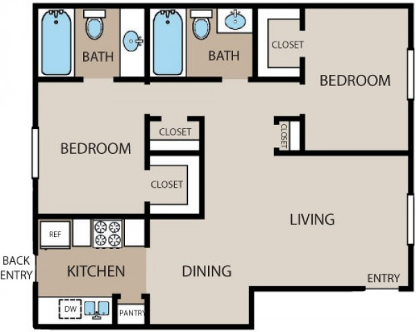 936 sq. ft. floor plan