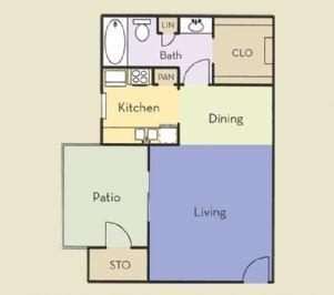 466 sq. ft. Aspen floor plan