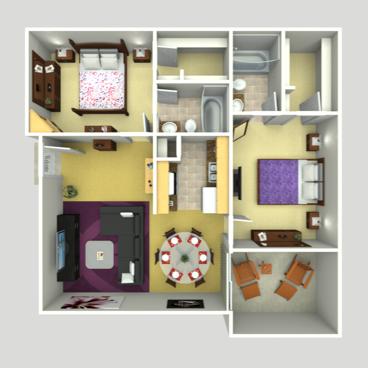 963 sq. ft. C-4 floor plan