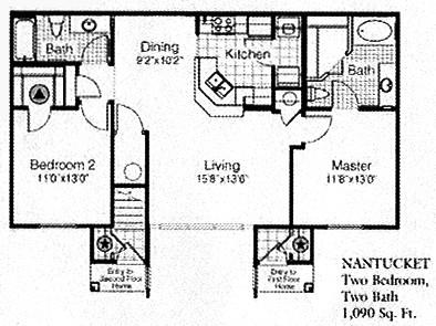 1,090 sq. ft. to 1,188 sq. ft. NANTUCKET floor plan