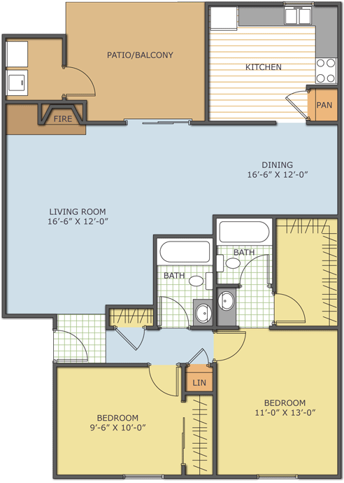 1,030 sq. ft. Laurel floor plan