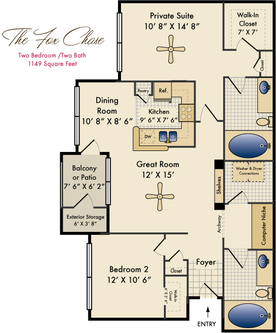 1,149 sq. ft. Fox Chase floor plan