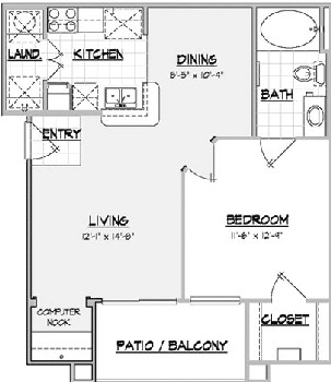 669 sq. ft. COYOTE floor plan
