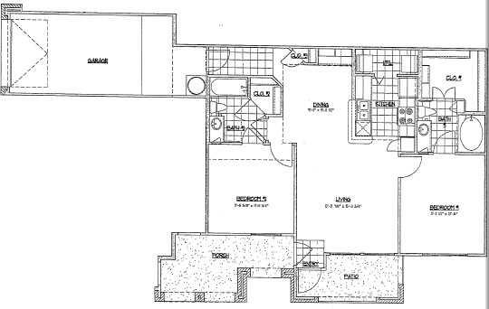 1,025 sq. ft. E1/60% floor plan