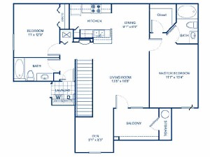 1,234 sq. ft. B2DG floor plan