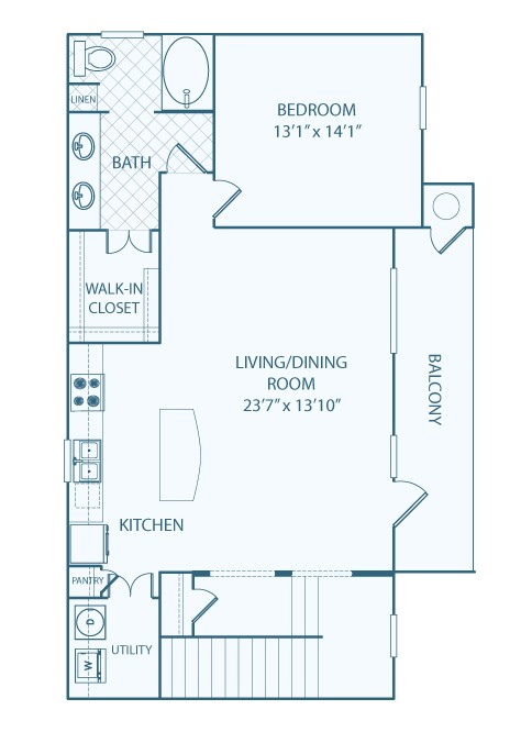 1,085 sq. ft. A4 floor plan