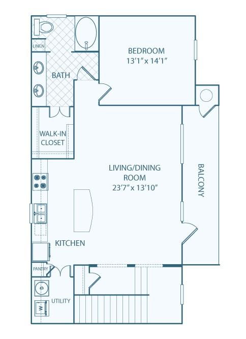 1,085 sq. ft. A4 floor plan