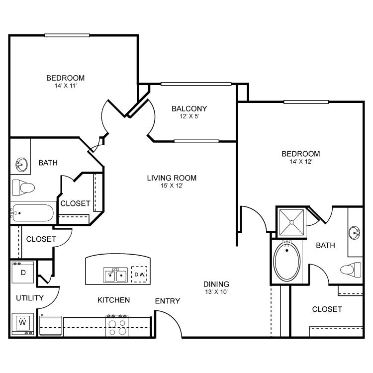 1,126 sq. ft. Abernathy floor plan