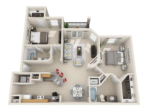 1,093 sq. ft. B2 floor plan