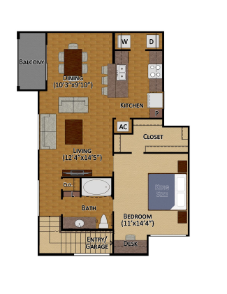 892 sq. ft. A3 floor plan